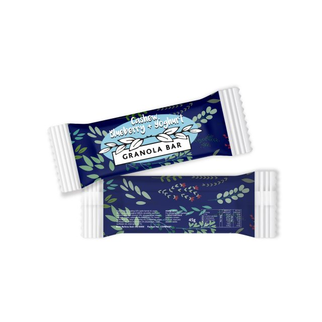 Paper Flow Bag – Cashew, Blueberry & Yoghurt – Granola Bar